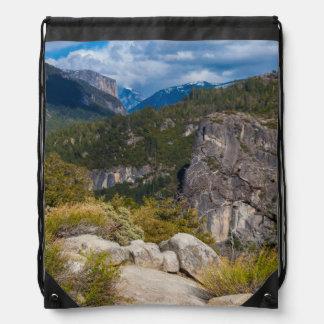 USA, California. Yosemite Valley Vista 2 Drawstring Bag