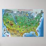 USA Cartoon Map HUGE Print