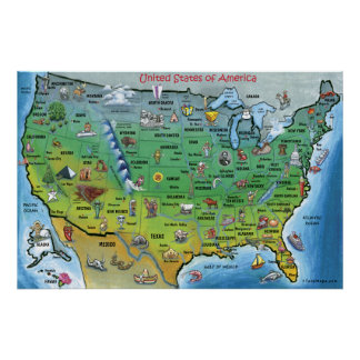 USA Cartoon Map HUGE Print