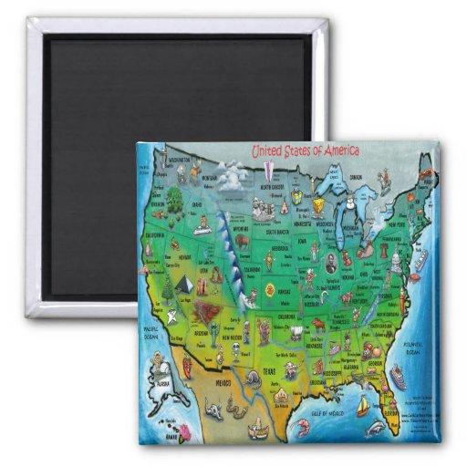 USA Cartoon Map Fridge Magnet