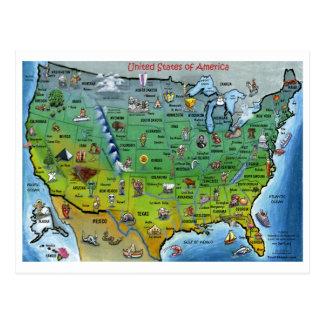 USA Cartoon Map Postcard