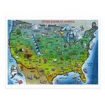 USA Cartoon Map Postcards