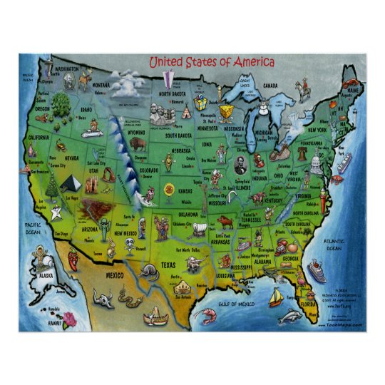 USA Cartoon Map Poster