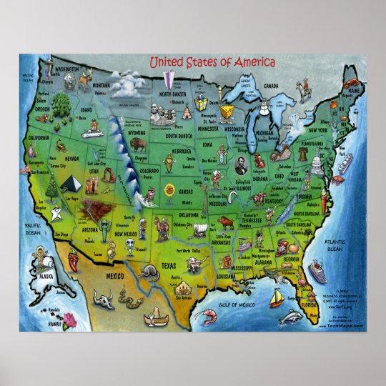 USA Cartoon Map Small Poster