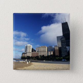 USA, Chicago, Illinois, Oak Street Beach and 15 Cm Square Badge