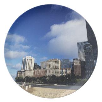 USA, Chicago, Illinois, Oak Street Beach and Party Plates