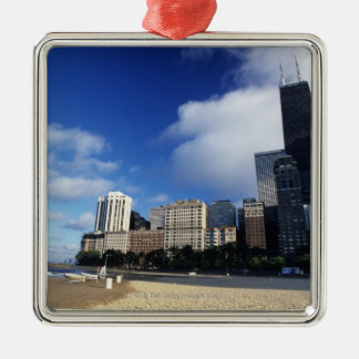 USA, Chicago, Illinois, Oak Street Beach and Silver-Colored Square Decoration