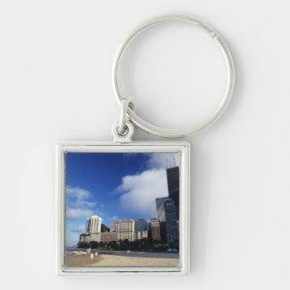 USA, Chicago, Illinois, Oak Street Beach and Silver-Colored Square Key Ring