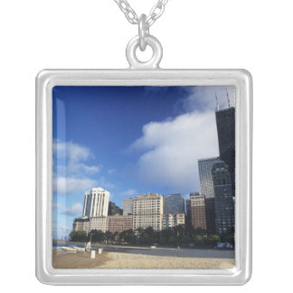 USA, Chicago, Illinois, Oak Street Beach and Silver Plated Necklace