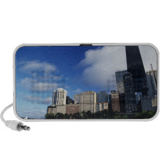 USA, Chicago, Illinois, Oak Street Beach and Notebook Speakers