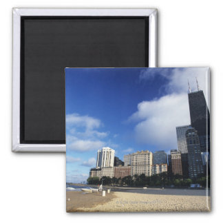 USA, Chicago, Illinois, Oak Street Beach and Square Magnet