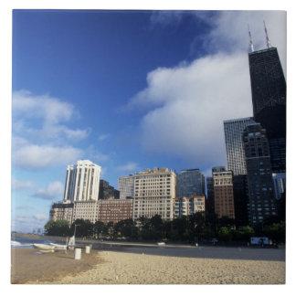 USA, Chicago, Illinois, Oak Street Beach and Large Square Tile