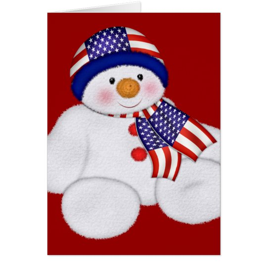USA Christmas Snowman Card