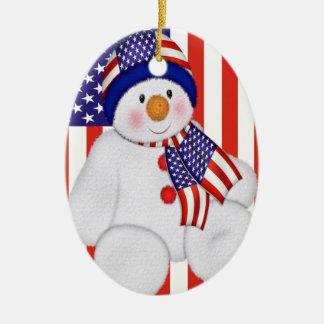 USA Christmas Snowman Christmas Ornament