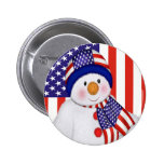 USA Christmas Snowman Pinback Buttons