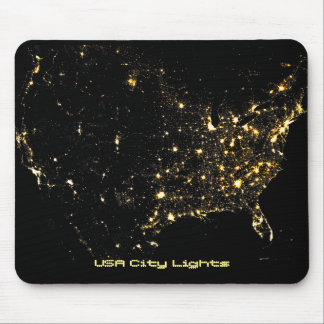 USA City Lights at Night Mouse Pad