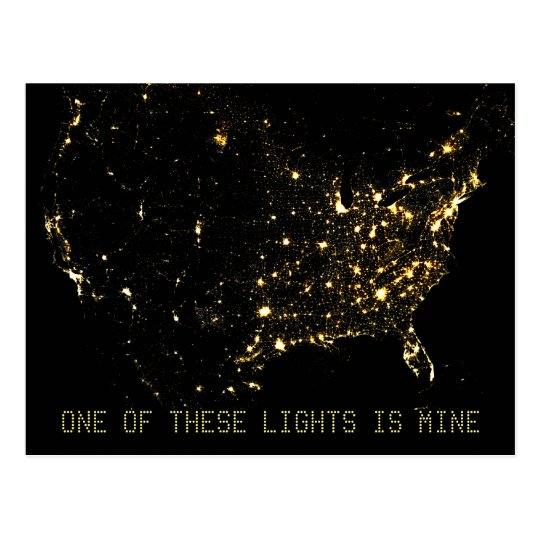USA City Lights at Night Postcard
