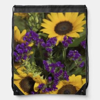 USA, close-up of bridal flower arrangement, Drawstring Backpack