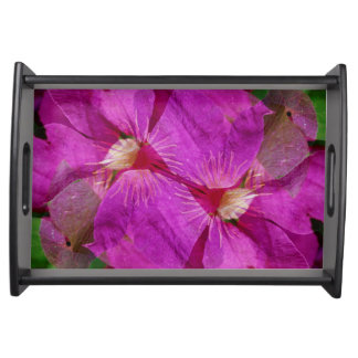 USA, Colorado, Boulder. Clematis flower montage Serving Tray