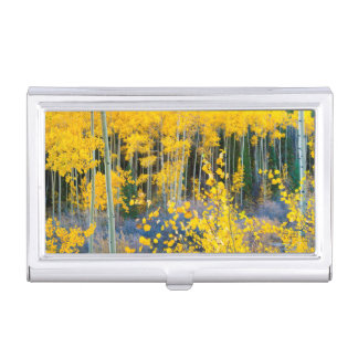 USA, Colorado. Bright Yellow Aspens In Rockies 2 Business Card Holder