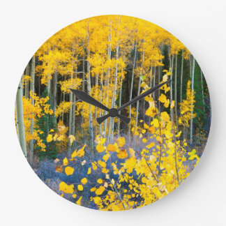 USA, Colorado. Bright Yellow Aspens In Rockies 2 Large Clock