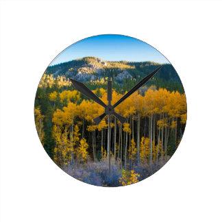 USA, Colorado. Bright Yellow Aspens in Rockies Round Clock