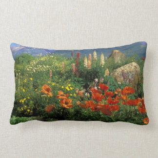 USA, Colorado, Crested Butte. Poppies and lupine Lumbar Cushion