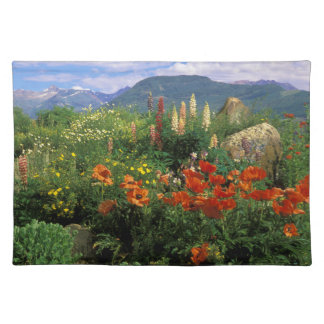 USA, Colorado, Crested Butte. Poppies and lupine Placemat