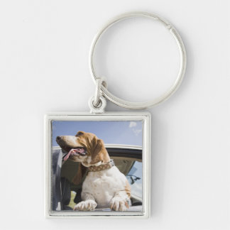USA, Colorado, dog looking through car window 2 Silver-Colored Square Key Ring
