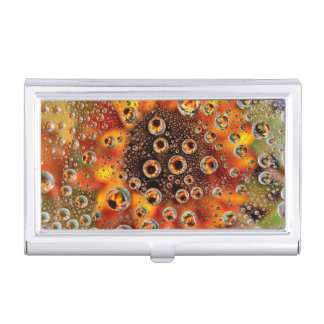 USA, Colorado, Lafayette. Water bubbles on glass 1 Business Card Holder