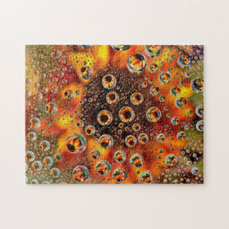 USA, Colorado, Lafayette. Water bubbles on glass 1 Jigsaw Puzzle