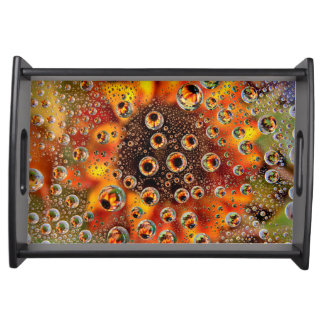 USA, Colorado, Lafayette. Water bubbles on glass 1 Serving Tray