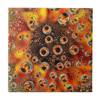 USA, Colorado, Lafayette. Water bubbles on glass 1 Tile