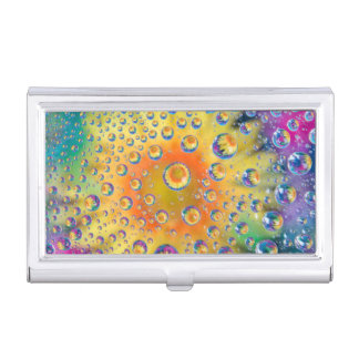 USA, Colorado, Lafayette. Water bubbles on glass 2 Business Card Holder