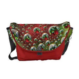 USA, Colorado, Lafayette. Water bubbles on glass 3 Messenger Bag