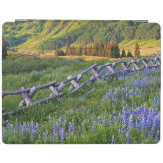 USA, Colorado. Lupines and split rail fence iPad Cover