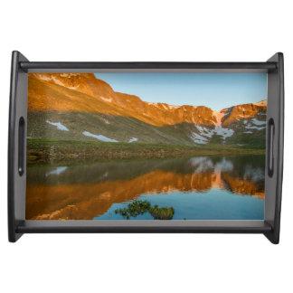 USA, Colorado, Mt. Evans. Summit Lake Reflection Serving Tray