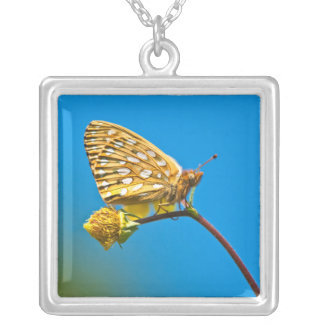 USA, Colorado. Skipper butterfly on flower stem Silver Plated Necklace