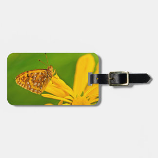 USA, Colorado. Skipper butterfly on sunflower Luggage Tag