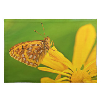 USA, Colorado. Skipper butterfly on sunflower Placemat