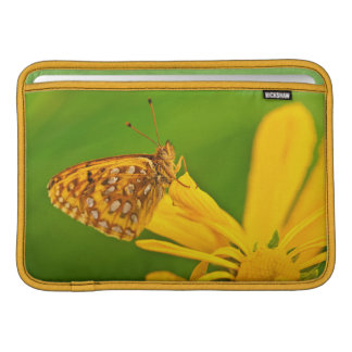 USA, Colorado. Skipper butterfly on sunflower Sleeve For MacBook Air