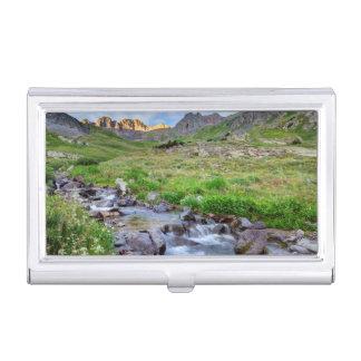 USA, Colorado. Sunrise On Stream Business Card Case