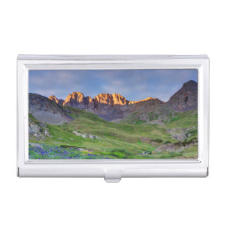 USA, Colorado. Sunrise On Wildflowers Business Card Cases