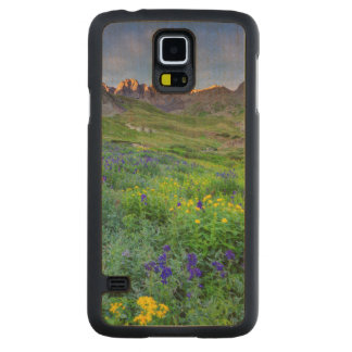 USA, Colorado. Sunrise On Wildflowers Carved Maple Galaxy S5 Case