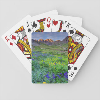 USA, Colorado. Sunrise On Wildflowers Playing Cards
