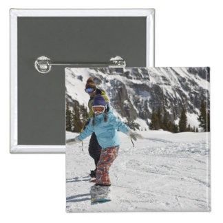 USA, Colorado, Telluride, Father and daughter 2 15 Cm Square Badge