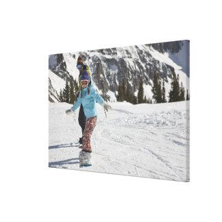 USA, Colorado, Telluride, Father and daughter 2 Canvas Print