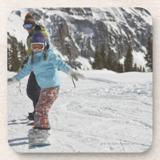 USA, Colorado, Telluride, Father and daughter 2 Drink Coaster