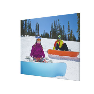 USA, Colorado, Telluride, Father and daughter 3 Canvas Print