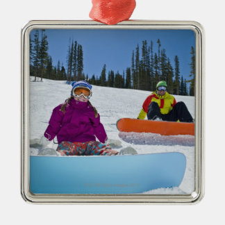 USA, Colorado, Telluride, Father and daughter 3 Christmas Ornament